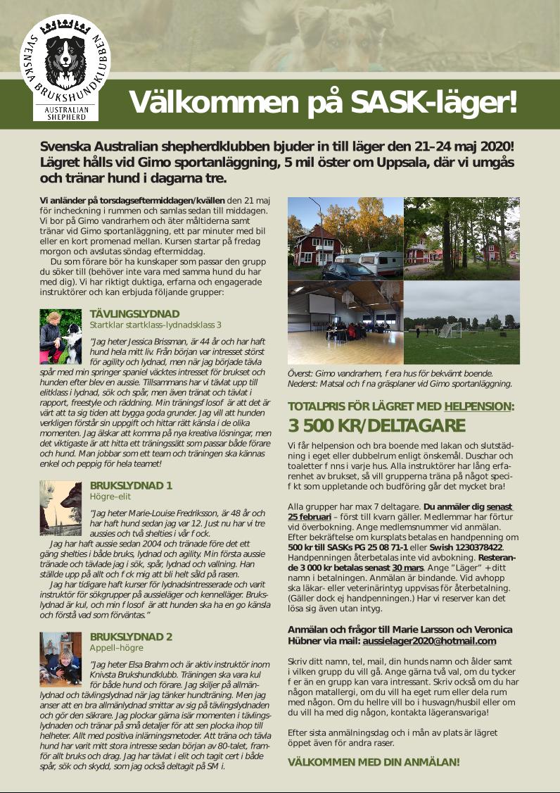 Inbjudan Läger 21 maj 2020