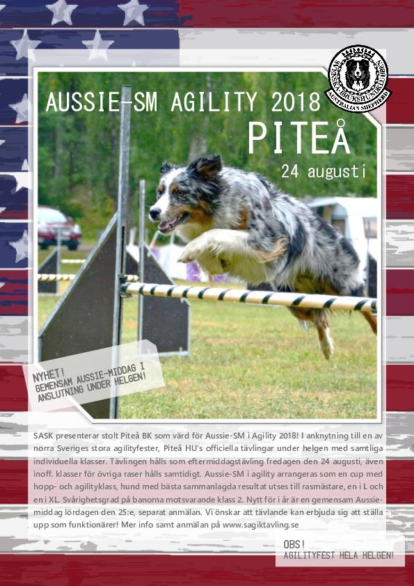 Inbjudan agility SM 2018